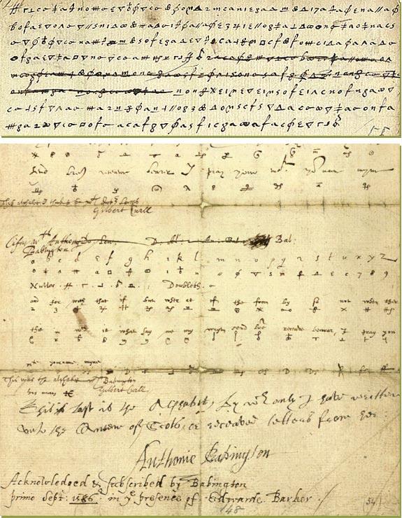Зразок шифрованого листування між між Бабінгтоном та Марією Стюарт