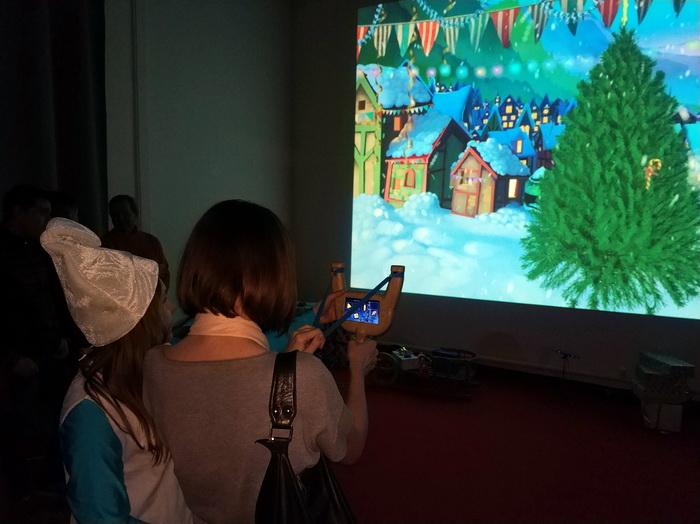 Рогатка для віртуальної стрільби іграшками по ялинці