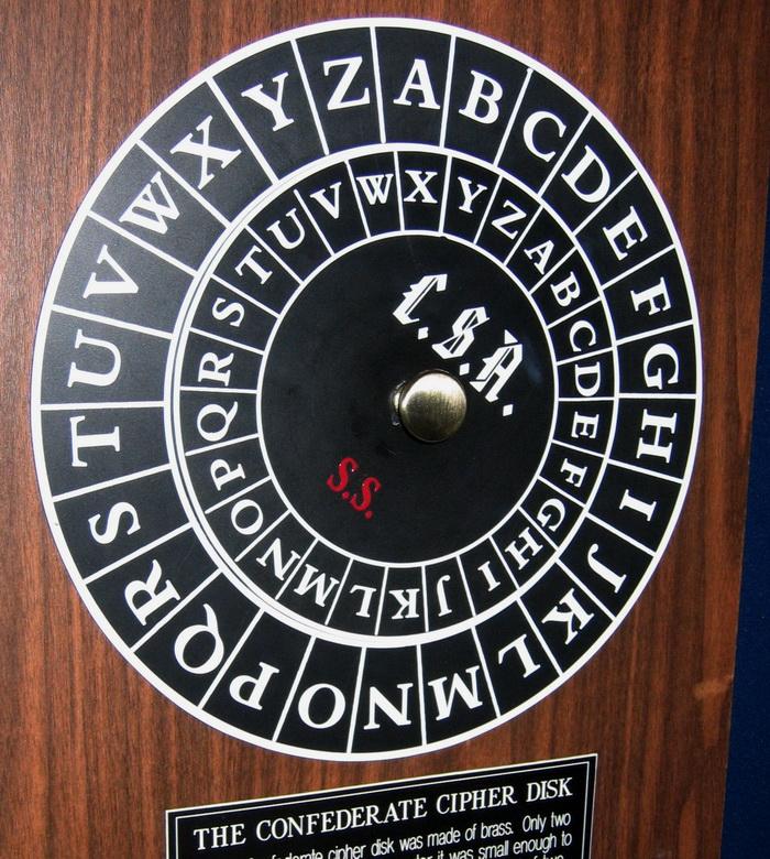 Диск Альберті використовувався військами Конфедерації для шифрування повідомлень під час громадянської війни в США