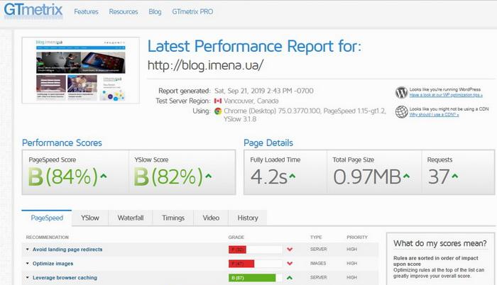 Перевірка швидкості завантаження сайту за допомогою сервісу GTmetrix