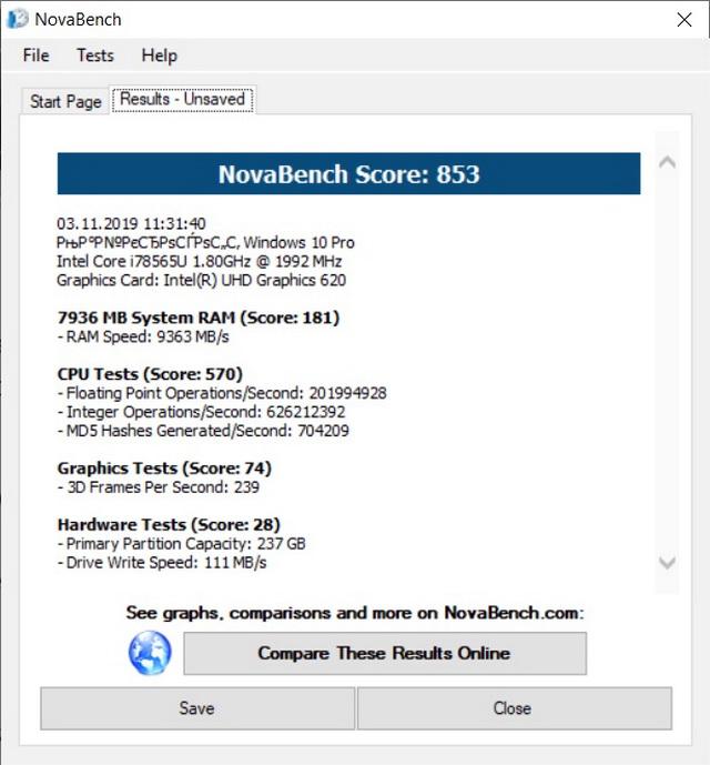 Результати тестування продуктиності системи за допомогою утиліти NovaBench