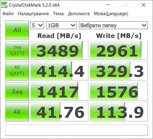 Тестування за допомогою утиліти CristalDiskMark показує дуже значну перевагу вмонтованого SSD у порівнянні з традиційним HDD